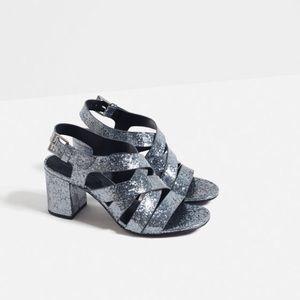 Zara Glitter Block Heel Strappy Sandals.